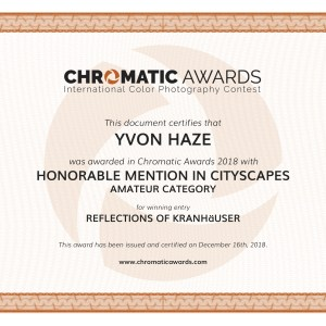 "Certificat ""Honorable Mention in Cityscapes ""à la COMPETITION  CHROMATIC AWARDS 2018"
