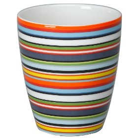 My Ittala Origo coffee mugs.   They are a little odd, having no handle.  But the stripes always make me smile, it fits happily in my hand, and the base of the mug has a round indentation to perfectly accept the raised round disk on the matching saucer.