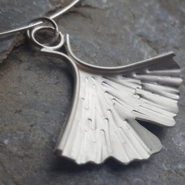 Solid Silver Ginko Pendant, on Sterling Silver Omega choker. Made to Order. £75.00
