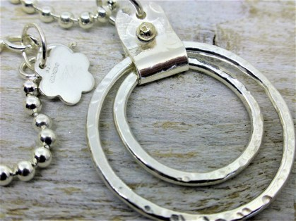 Chunky silver chain and 2 movable rings pendant with solid gold bead
