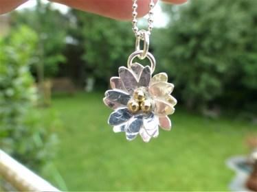 Silver Daisy Necklace with Fairtrade Gold Beads