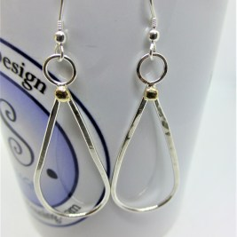 Eco silver and Eco Gold Oval Earrings