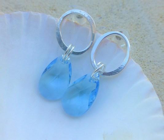 Swarvoski Aqua Blue and Ecosilver Earrings £38.00