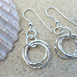 Eco-Silver Trinity Drop Earrings