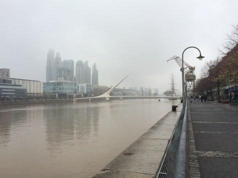 That white footbridge is 'Puente de la Mujer', designed by one of our favorite architects: Santiago Calatrava
