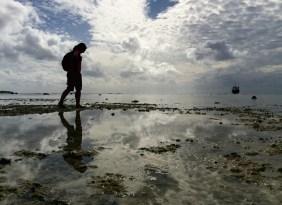 Jules walking through the reef during low tide
