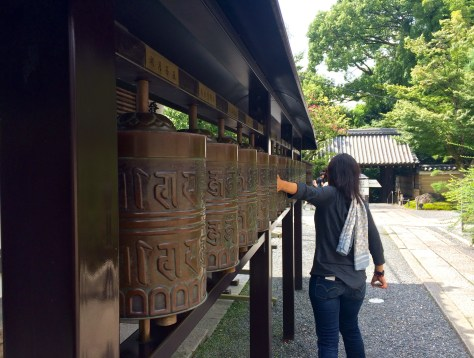 Jules 'ding donging' the bells outside the Kodaiji temple