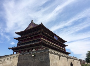 The Drum Temple in Xi'an against one of the few blue skies we managed to see in China