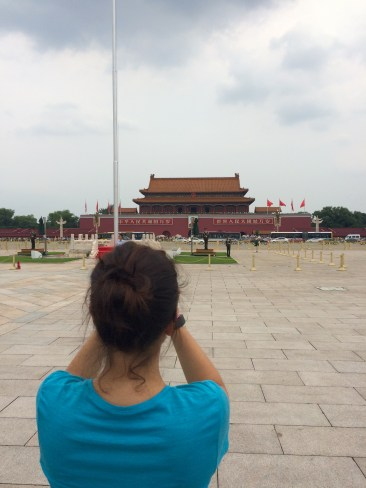 Jules admires the Forbidden City from the middle of Tiananmen Square
