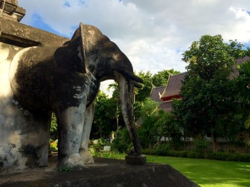A stone elephant in Wat Chiang Mun
