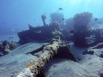 The Japanese wrecks sits at a depth of just 2 to 12 meters, so you can go everywhere without diving equipment