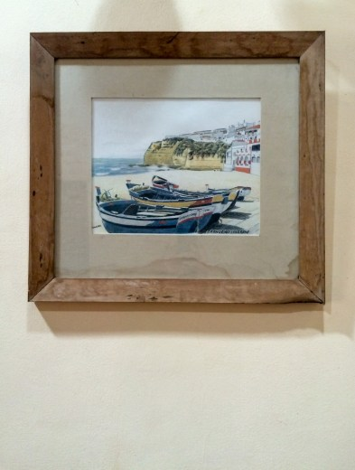 Fishing boats in Nazaré, Portugal, on the wall of our guesthouse in north Goa
