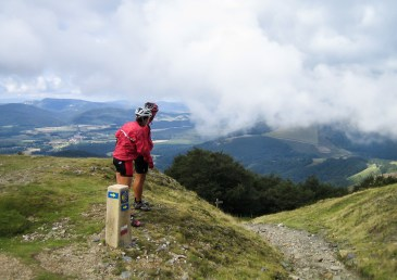 Checkin out our first big downhill, from the top of the Pyrenees to the Spanish town of Roncesvalles