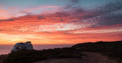 Sunset at Carrapateira, Portugal (2-picture panorama, 35mm, 1/125s, f3.2, ISO 200)