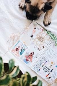 Dog and journal