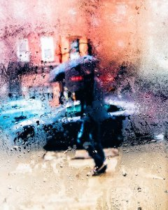 Blurry rain storm