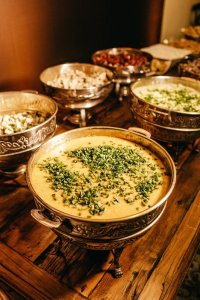 Chafing dishes on buffet