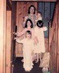 Jule and the children, Christmas, 1977