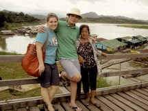Julia, Naa Bong, and Pak Wan on the Longest Wooden Bridge in Thailand