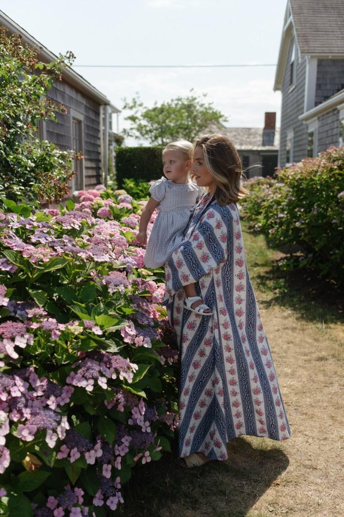 blue pink floral cotton kaftan