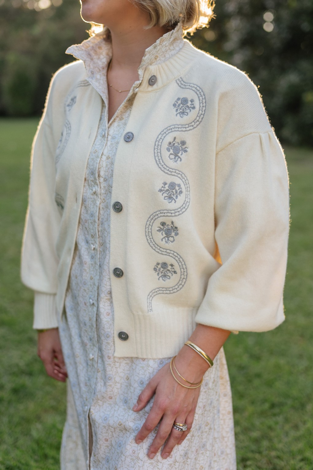 green blue cream luxurious embroidered knit sweaters