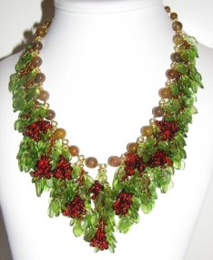 Pretty Handwoven Grape Cluster Necklace added today!