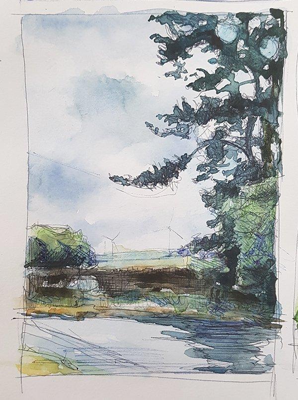 Detour (Preparatory Sketch), 2020, Biro and watercolour on paper, 9 x 12.5cm   Julia Brown