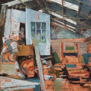 'Engine Shed, Threlkeld', 2019, industrial interior, oil painting, Julia Brown
