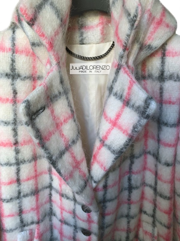 Mohair coat in pink plaid with white and button down coat by Julia Di Lorenzo