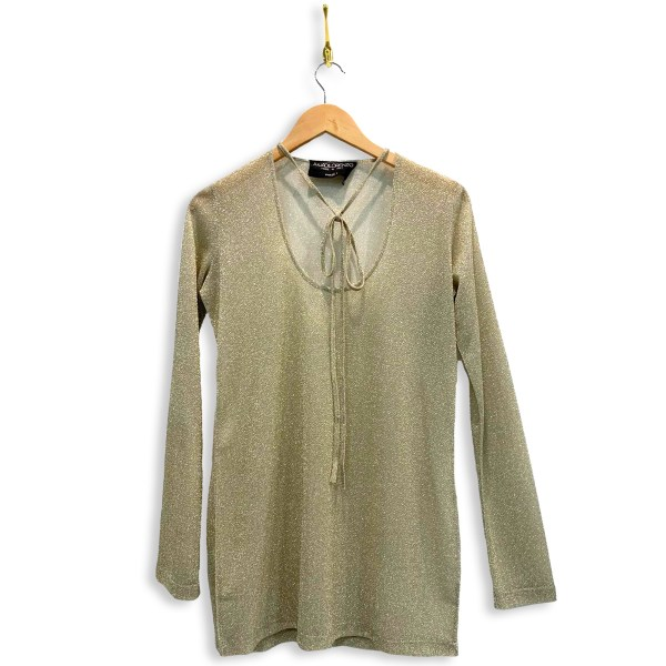 Metallic shirt with necktie and long-sleeves in metallic white cream. Necktie is in a bow across the low u-shaped neckline.