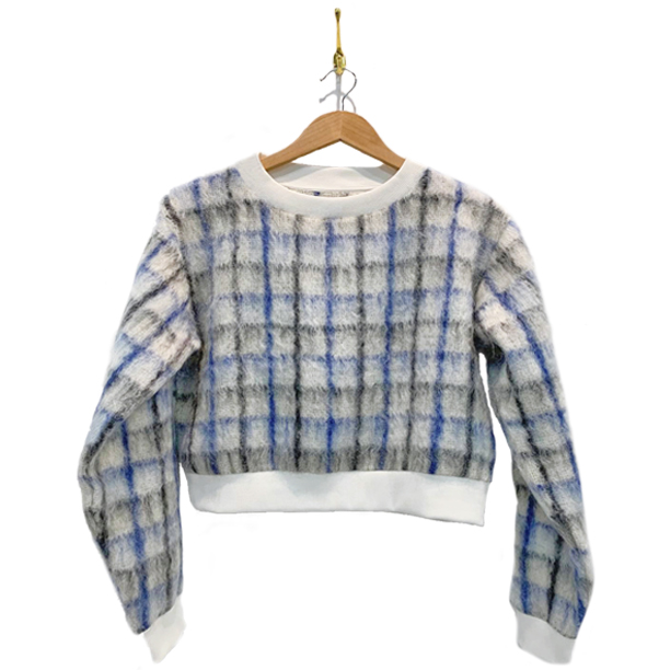 Sonic blue black and white plaid mohair sweater. White trim on collar and sleeves.