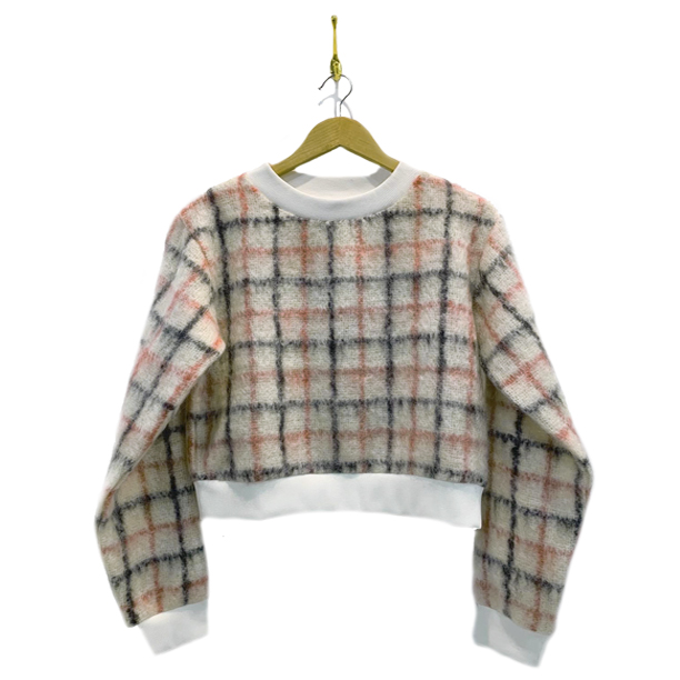 mohair top in white with black and pink plaid and white collar and cuffs. In moahri brown accent color.