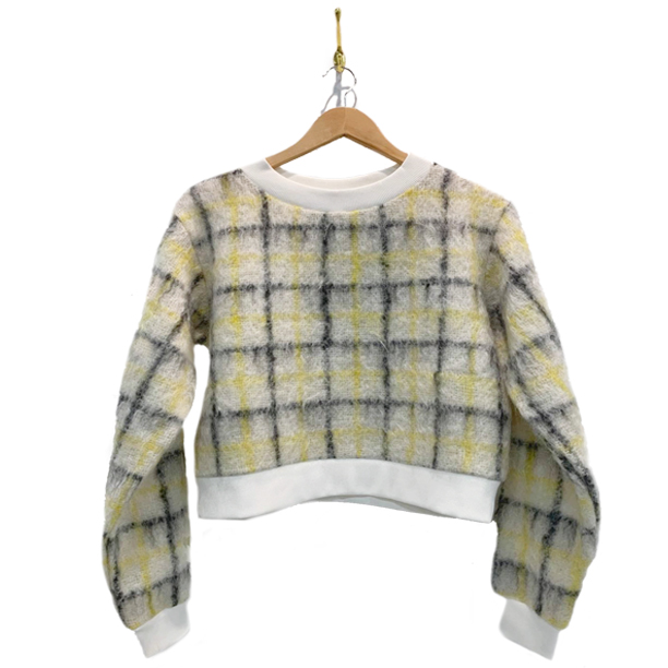Maize yellow black and white plaid mohair sweater. White trim on collar and sleeves.
