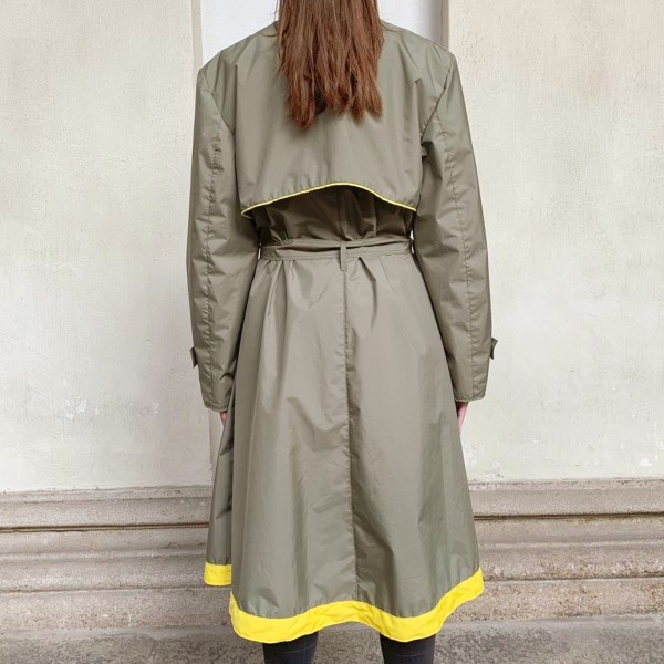 Back view of the Best Upcycled waterproof rain trench coat made in Italy