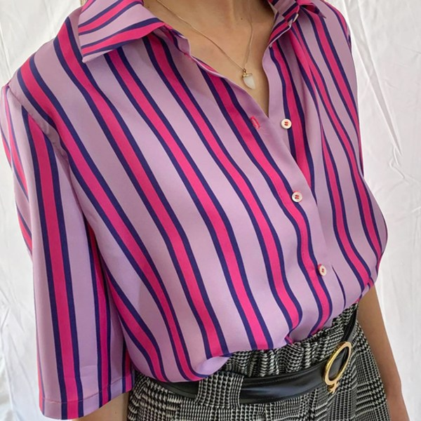 silk blouse womens online clothing sale item in pink and purple stripes button down blouse paired with jacquard shorts and venus belt