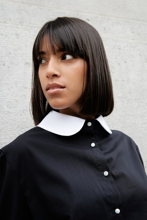 Julia Di Lorenzo Collection ethical Vintage 1905 Black Cotton Blouse with peter pan collar made in Italy.