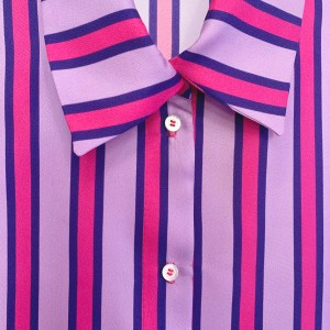 100% silk top with pink and purple stripes ethically made by Julia Di Lorenzo. 100% Italian Silk blouse close-up image.
