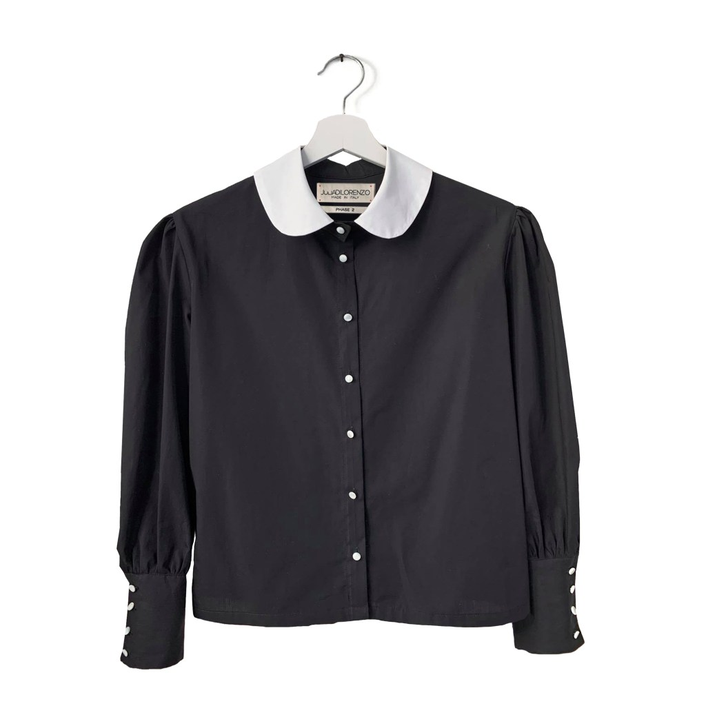 Black 100% Cotton Blouse Witch Style