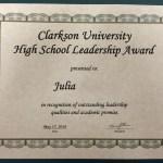 The Clarkson High School Leadership Award
