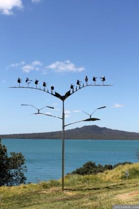 NZ Sculpture OnShore Nov 2012 (117) Doug Kennedy 'Sitting Gulls (The Next Supper)'