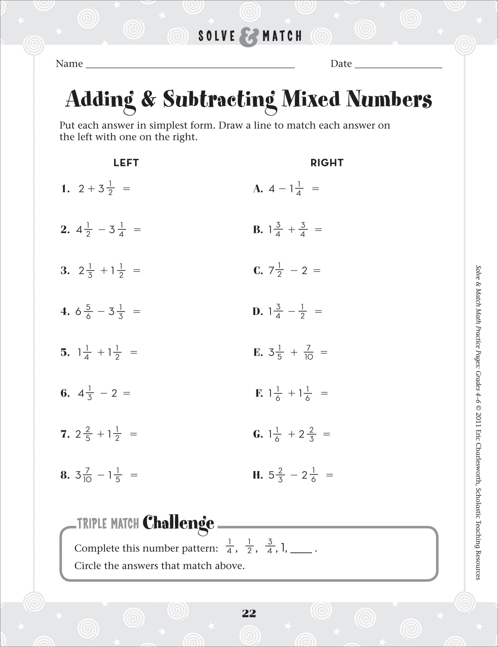 Renaming Mixed Numbers Worksheet