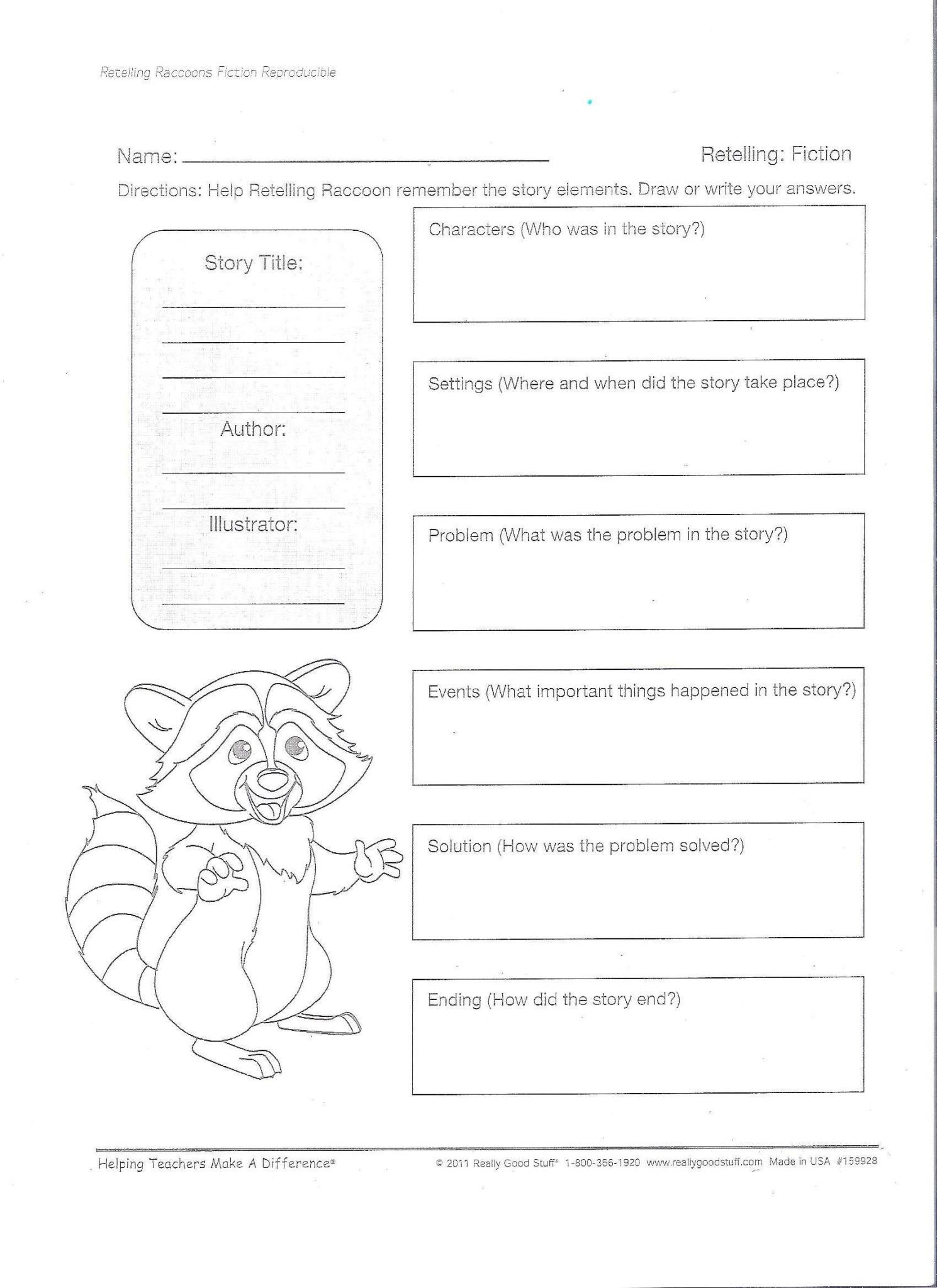 5 Finger Retell Worksheet