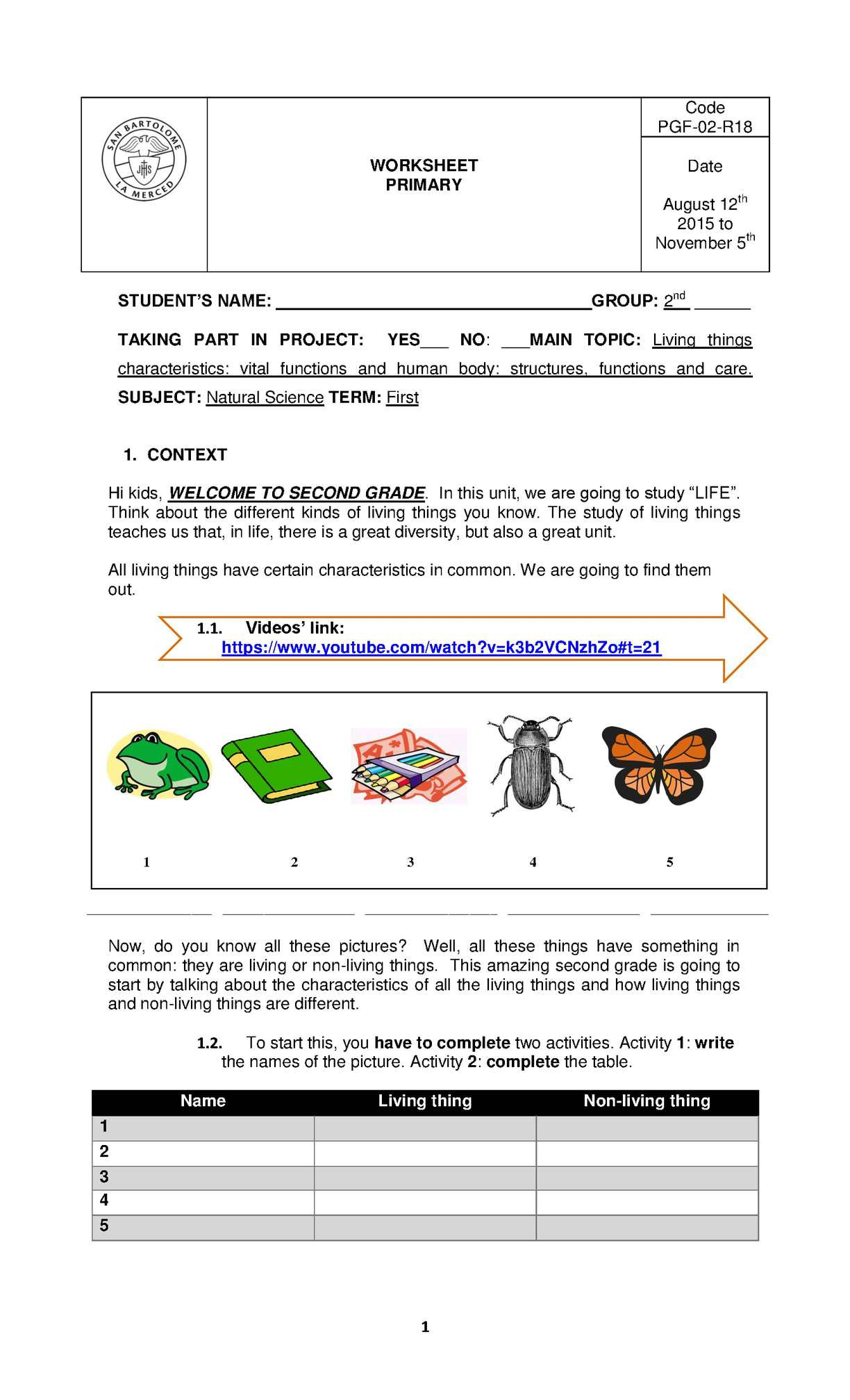 Classification Of Living Organisms Worksheet