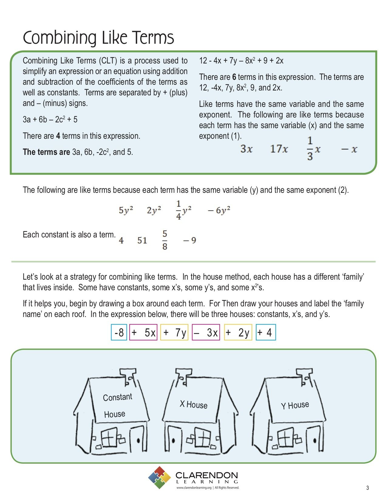 Combining Like Terms Perimeter Worksheet