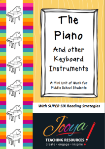 The Piano and other Keyboard Instruments Mini Unit with Super Six Reading Strategies
