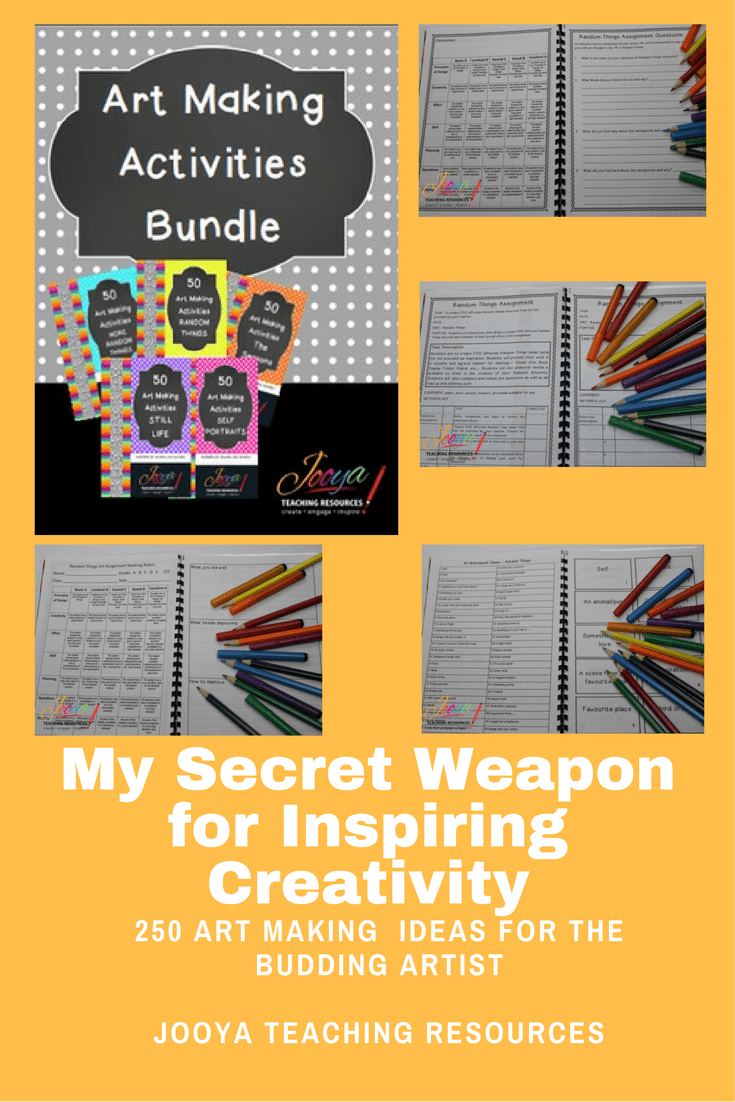 250 Art Making Ideas for the Budding Artist by Jooya Teaching Resources. Looking for something to do in your art lessons? Save yourself time and effort with the 250 art activities. Loads of options – task cards, assignment, marking rubrics and printable individual pages. Great for early finishers or for the substitute teacher!