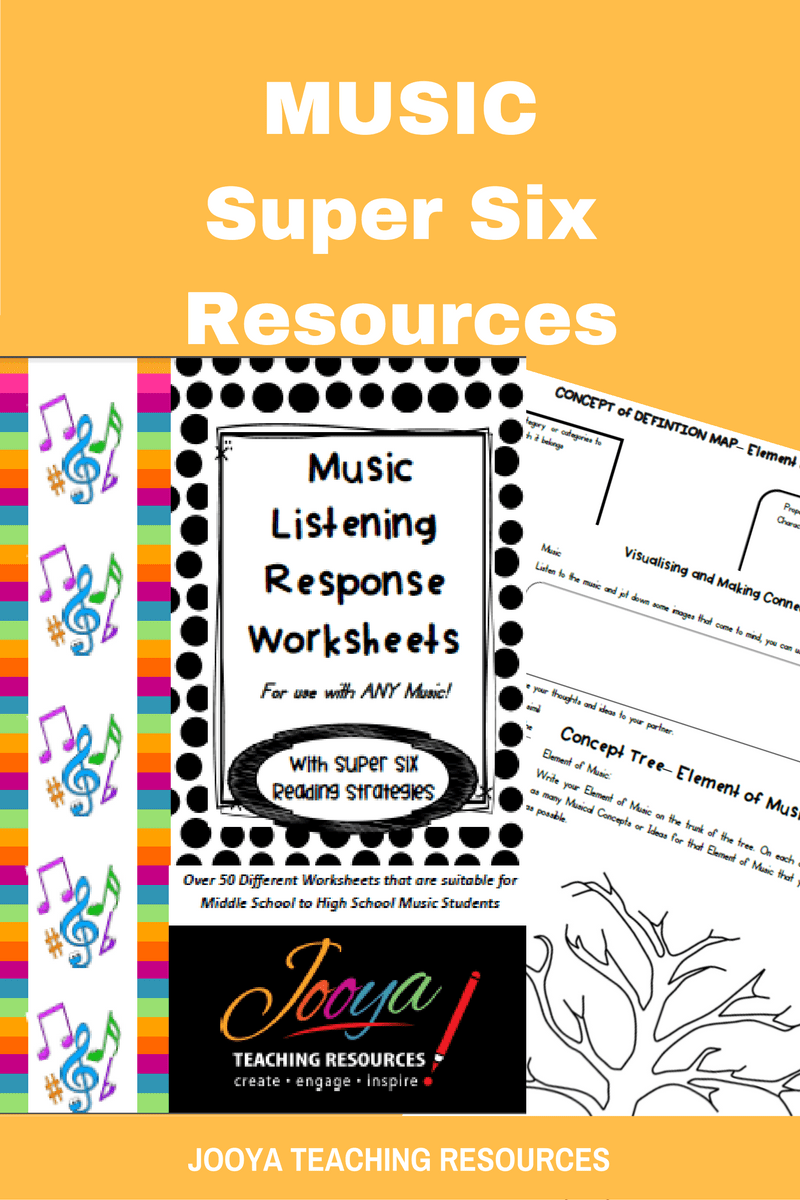 Music Listening Response Worksheets with Super Six Reading Strategies from Jooya Teaching Resources. This set of worksheets is truly a unique resource that will inspire your students to listen critically to any piece of music selected for study. Each worksheet can be used over and over,