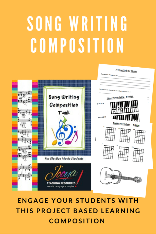 Song Writing Composition Task from Jooya Teaching Resources. Students create, perform and record a song based on the lyrics and chord progressions provided, on an instrument/s of their choice!