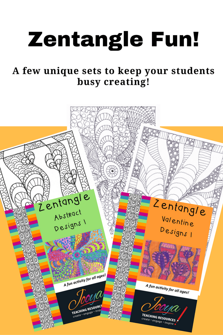 5 Original Zentangle Designs by Jooya Teaching Resources. These Abstract Designs are perfect to keep students busy and engaged with creativity. Perfect for any age – even the adults!
