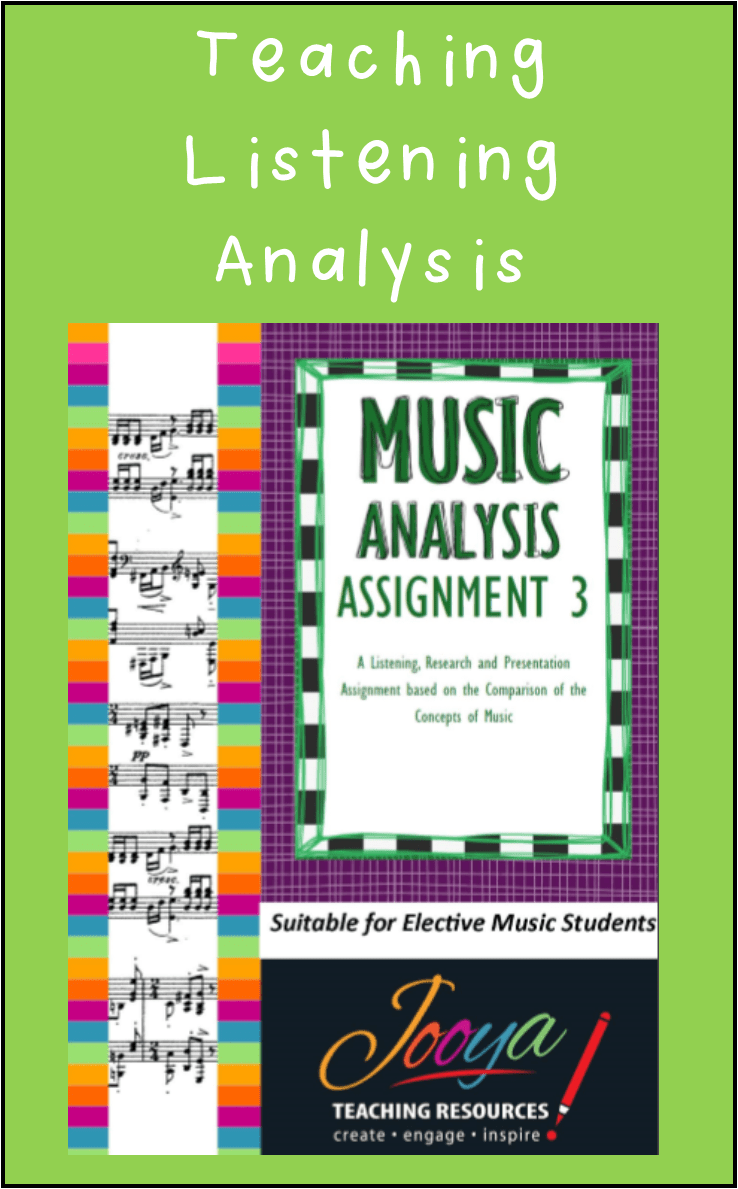 Music Analysis Assignment from Jooya Teaching Resources. You can also purchase the Bundle which contains SIX different assignments, each one getting progressively harder than the last! Fantastic resource for busy music teachers and helping your students succeed with preparing for a Viva Voce. Suits Elective Music students Years 9 to Year 12.